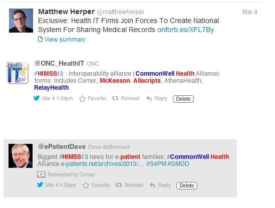 The CommonWell Health Alliance announced at HIMSS13.
